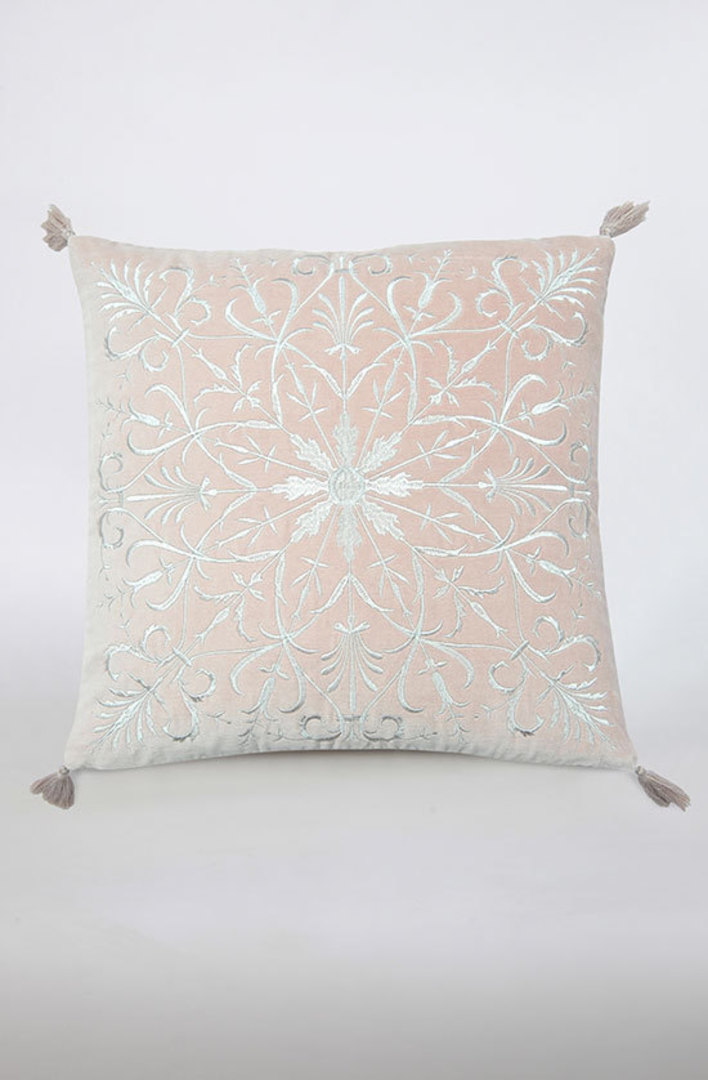 MM Linen - Constantine Embroidered Velvet Cushion - Rosewood image 0