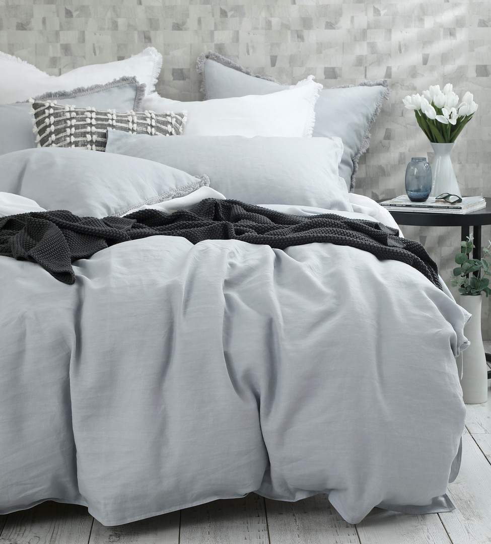 MM Linen - Laundered Linen Duvet Set - Pewter image 1