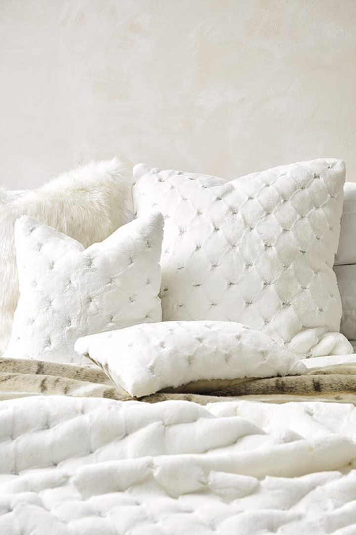 Heirloom Exotic Faux Fur -  Cushion / Throw  -  Valentina - White image 4