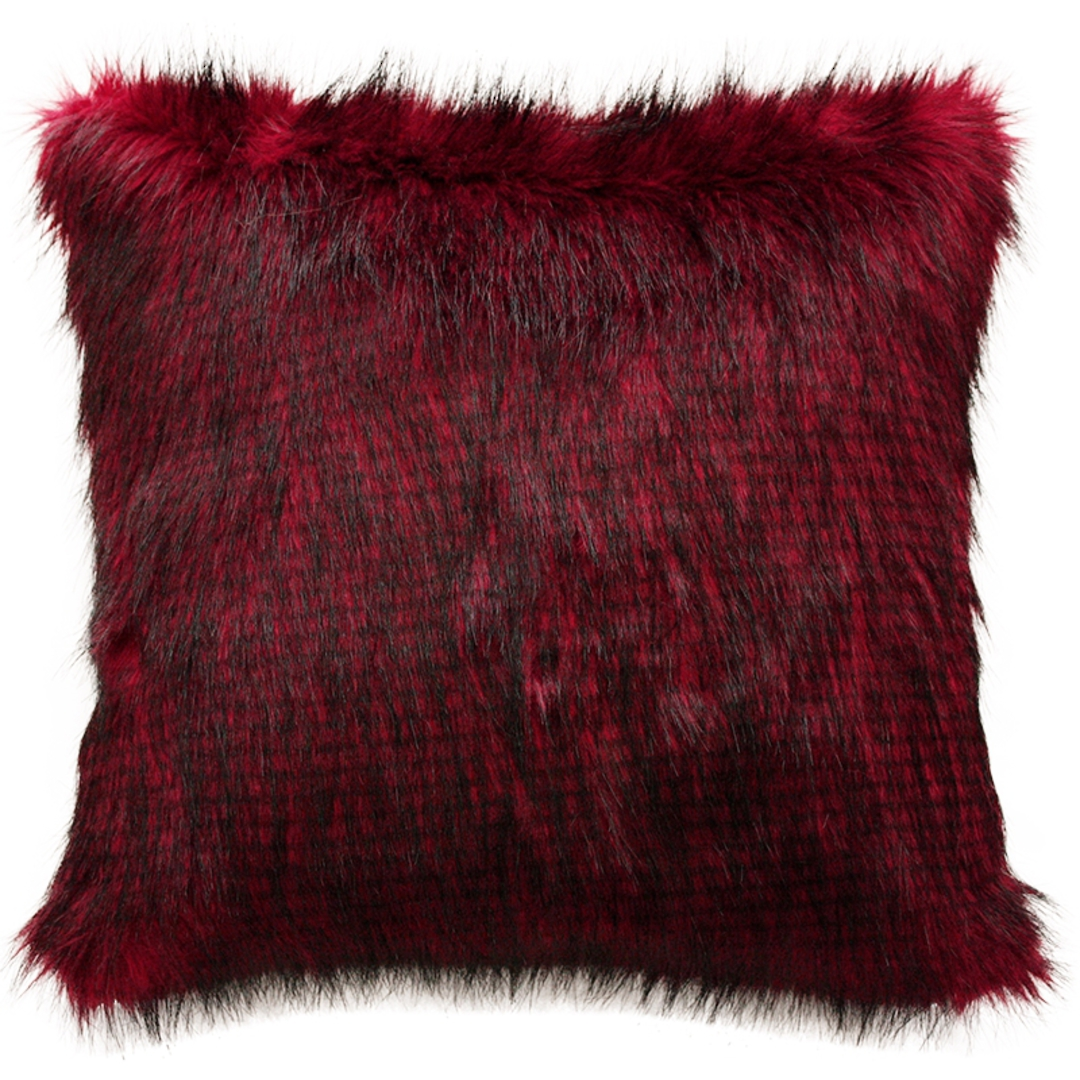 Heirloom Exotic Faux Fur Cushion / Throw -  Red Pheasant image 2