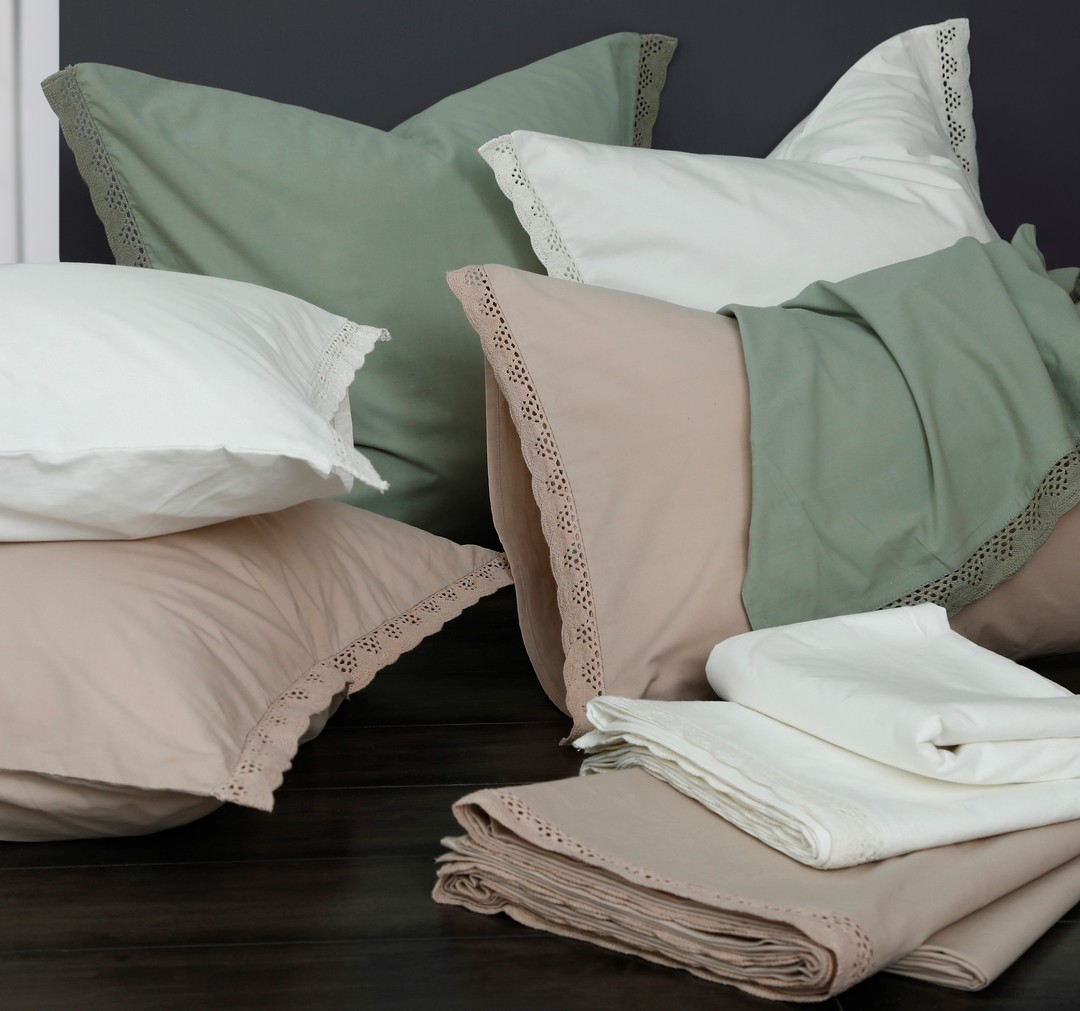 MM Linen - Lacey Pillowcase Set - Sage image 0