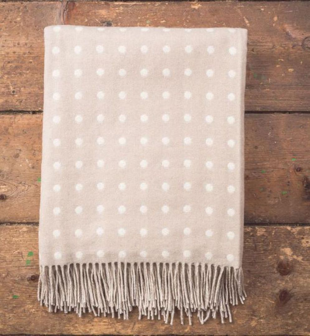Importico - Foxford Lambswool Throw - Taupe Spot Throw image 0