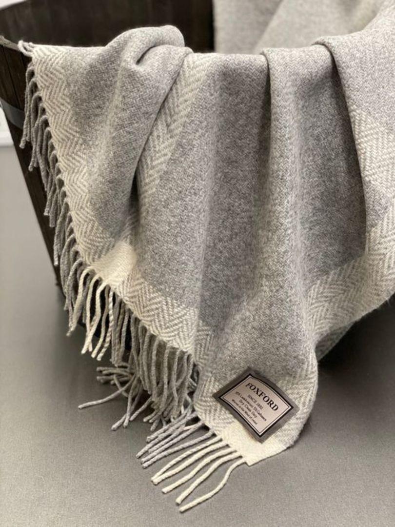 Importico - Foxford - Cashmere Windowpane - Pearl/Grey/White - Throw image 0