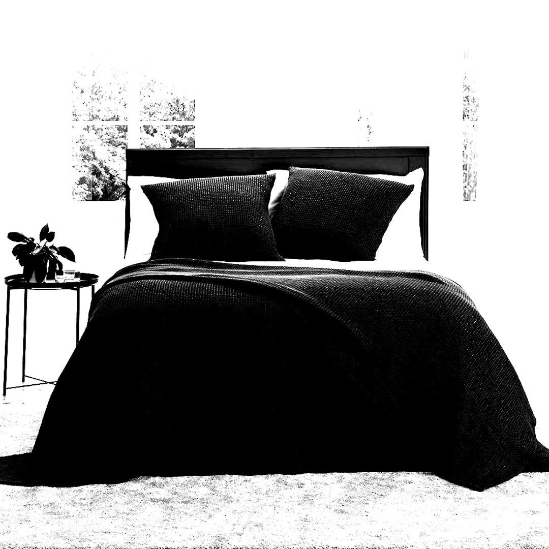 Baksana - New Bliss Stonewashed Throw/Blanket/ Eurocase/Cushion - Black image 0