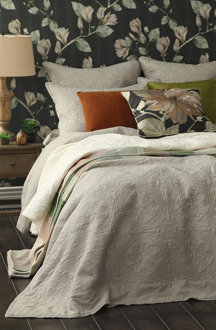 MM Linen - Carlotta Quilted Bedspread Set/ Eurocase Set - Natural image 2