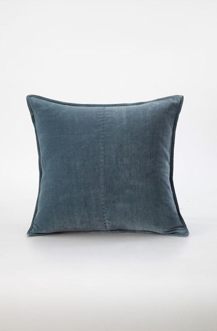 MM Linen - Velvet Cushion - Bluestone image 0