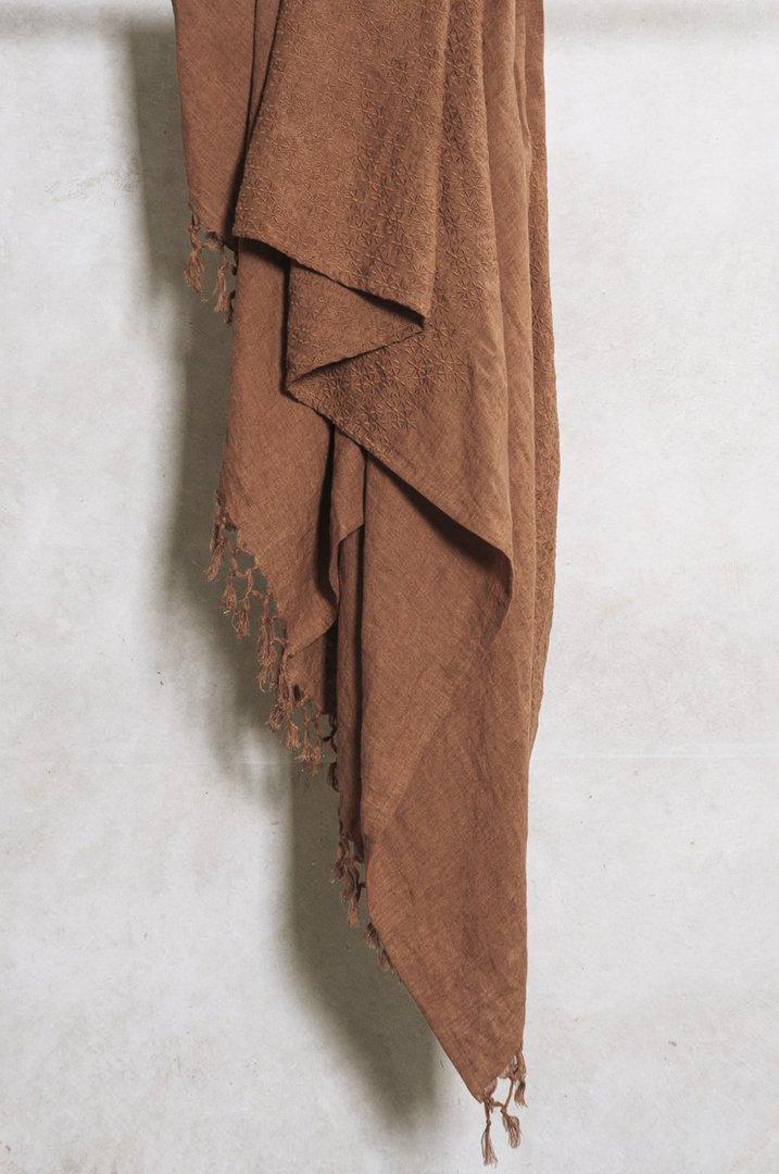 Bianca Lorenne - Sashiko Cinnamon Linen Throw image 0