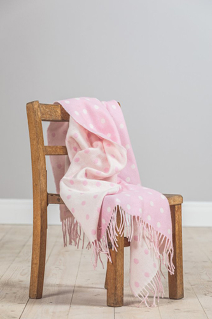 Importico - Foxford Lambswool Throw - Pink Spot Baby Throw image 0
