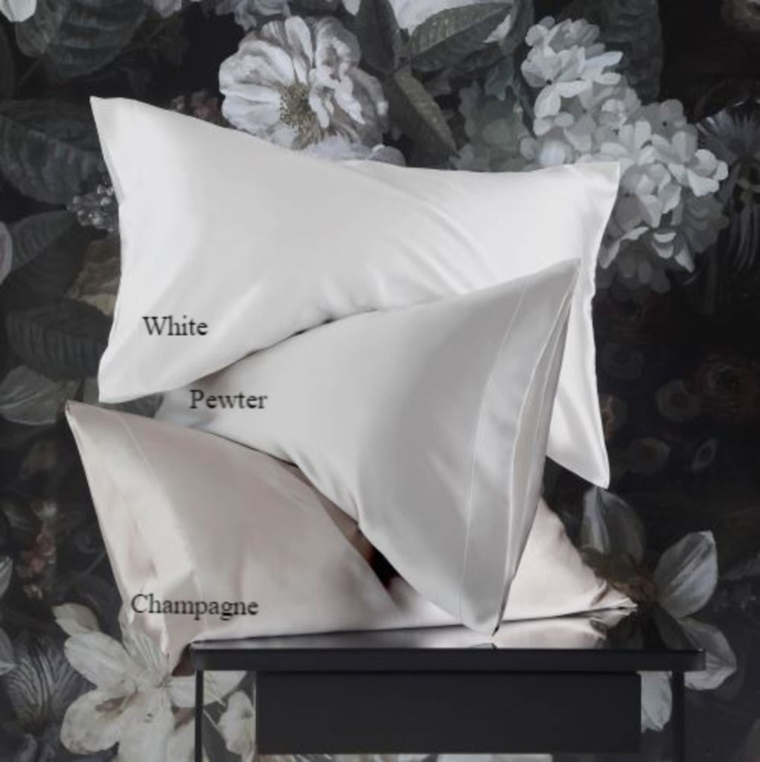 MM Linen - Silk Pillowcases - Champagne, Pewter, White image 0