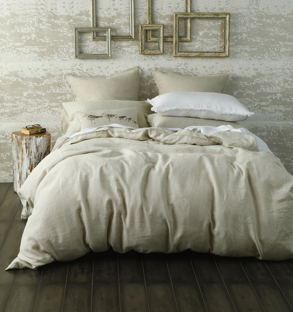 MM Linen - Laundered Linen Duvet Cover Set -  Natural image 0