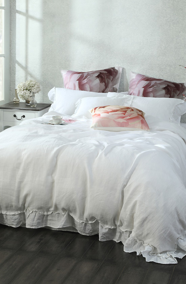 MM Linen - Laundered Linen Duvet Cover Set -  Frill White image 0