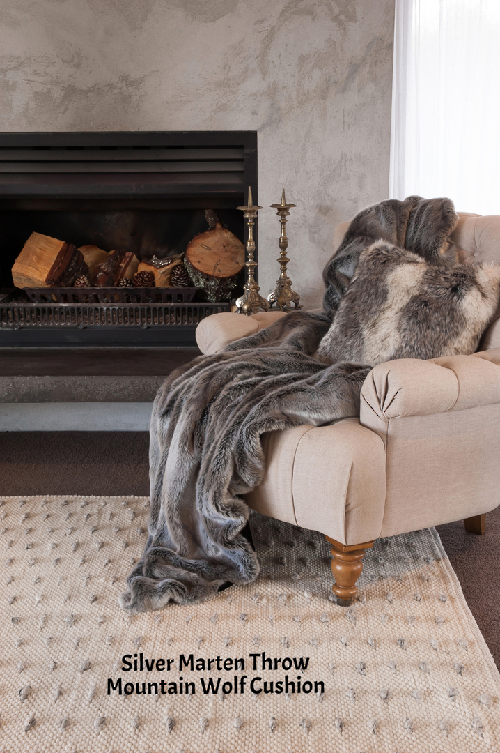 Heirloom Exotic Faux Fur Cushion / Throw  -  Silver Marten image 0