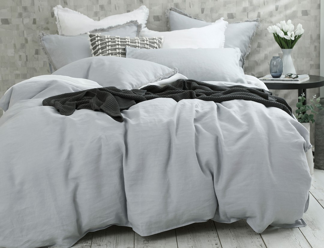 MM Linen - Laundered Linen Duvet Set - Pewter image 0