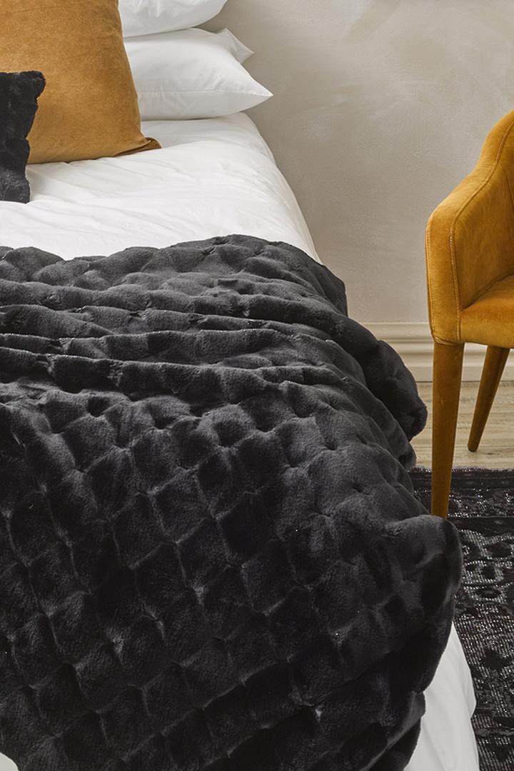 Heirloom Exotic Faux Fur -  Cushion / Throw  -  Valentina - Black image 0