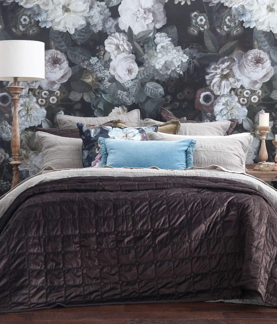 MM Linen - Meeka Coffee Quilted Comforter Set / Eurocase Set image 0