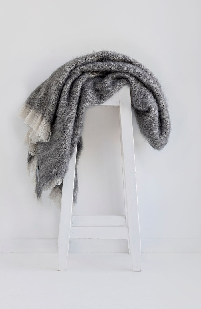 New Zealand Made Windermere Alpaca Blanket Throw - Granite image 1