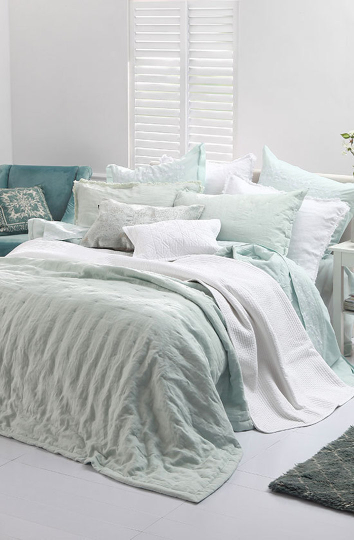 MM Linen - Laundered Linen  Bedspread Set - Duckegg image 0