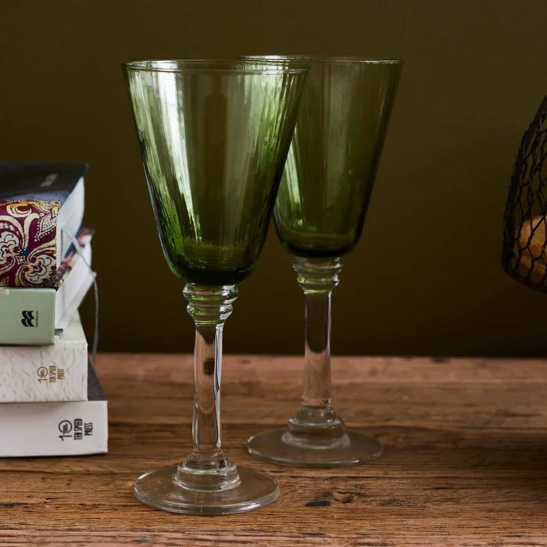 French Country - Talbot Wine Glass - Green image 1