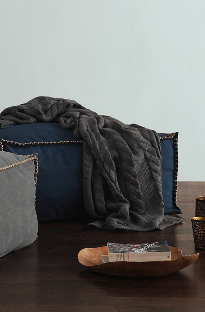 MM Linen - Guernsey Knit Throw -  Charcoal image 0