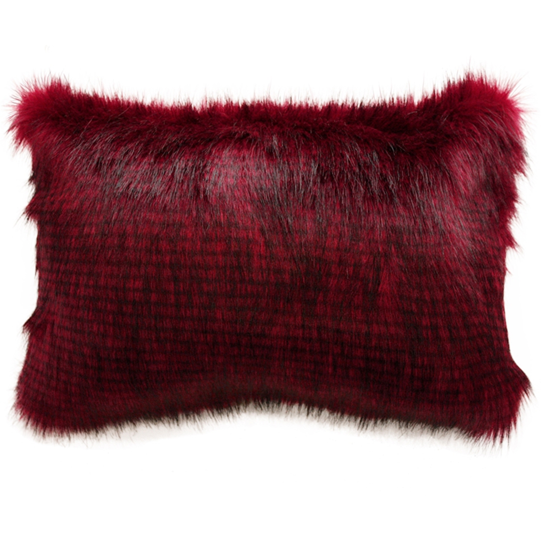 Heirloom Exotic Faux Fur Cushion / Throw -  Red Pheasant image 1