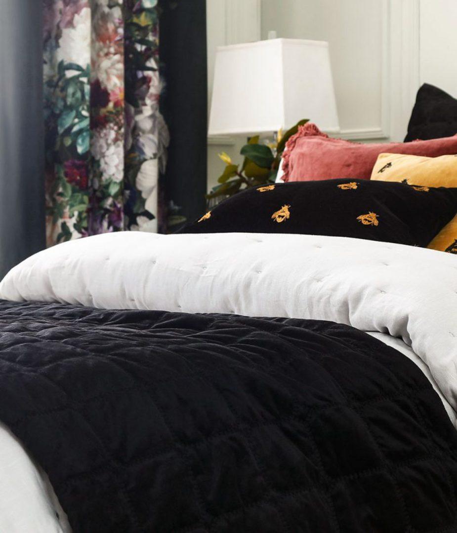 MM Linen - Meeka Ebony Quilted Comforter Set / Eurocase Set image 1
