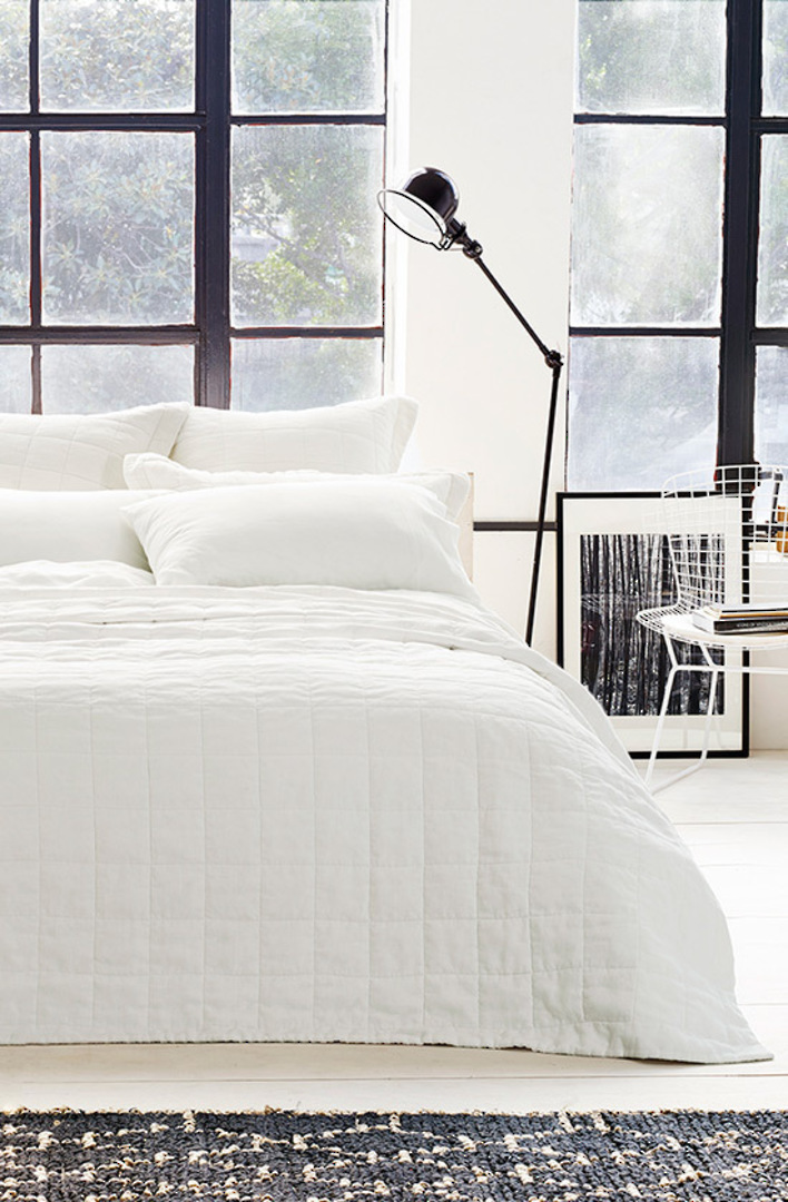 Sheridan - Abbotson White Linen Quilted Bedspread / Pillowcases/Eurocases image 0