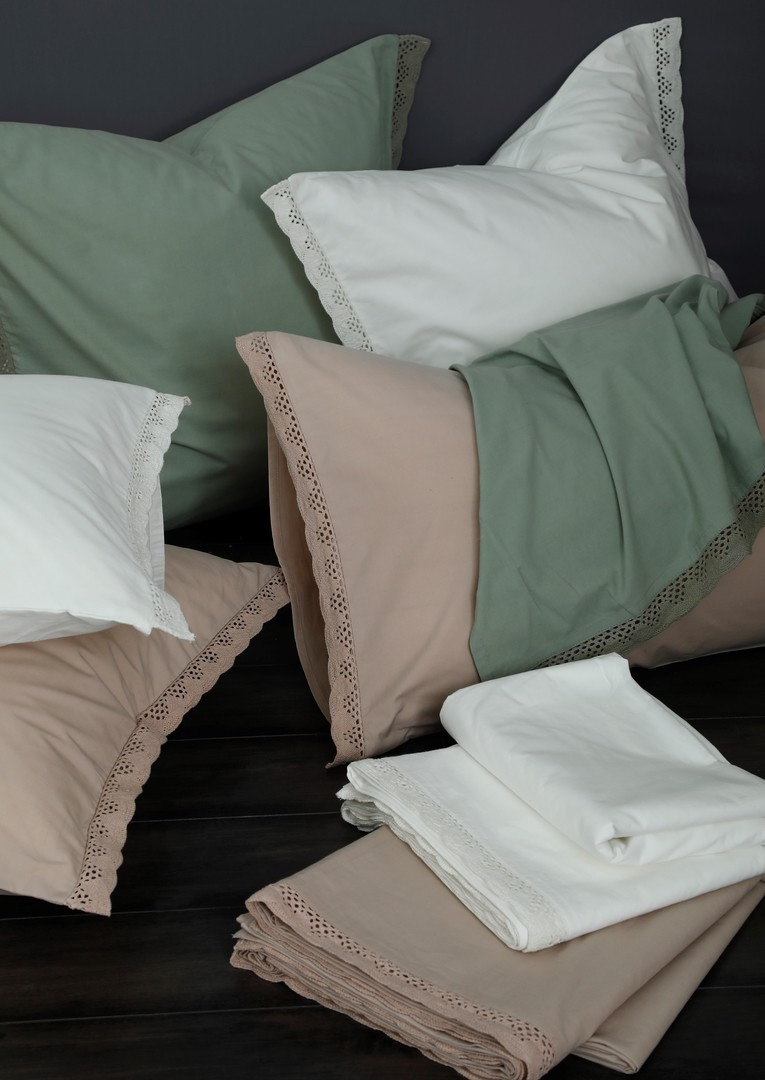 MM Linen - Lacey Pillowcase Set - Sage image 1