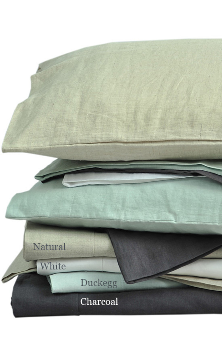 MM Linen - Laundered Linen Sheet Set - Charcoal image 1