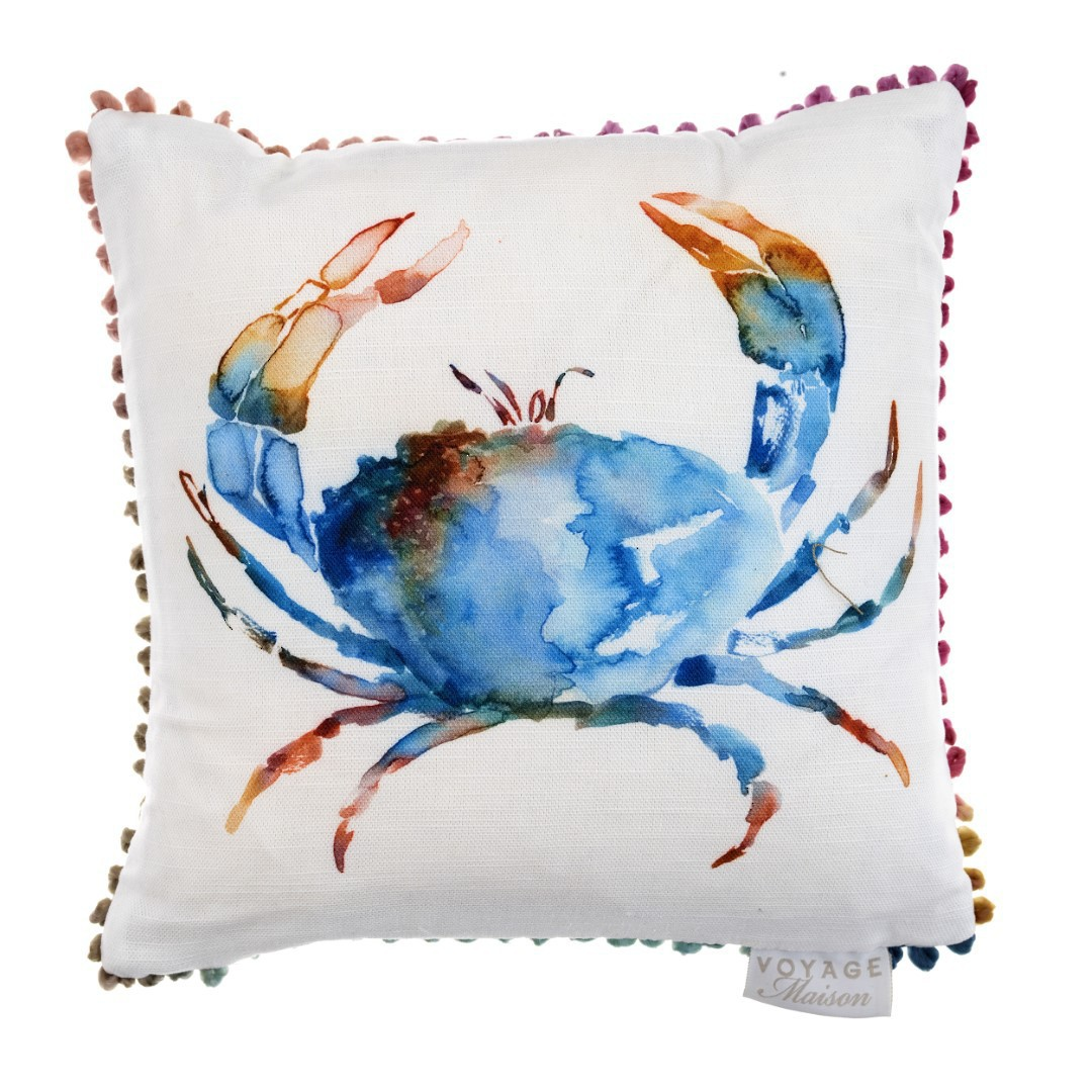 Voyage Maison - Riviera/Art House - Crustaceans Cushion - Cobalt - ON SALE image 0