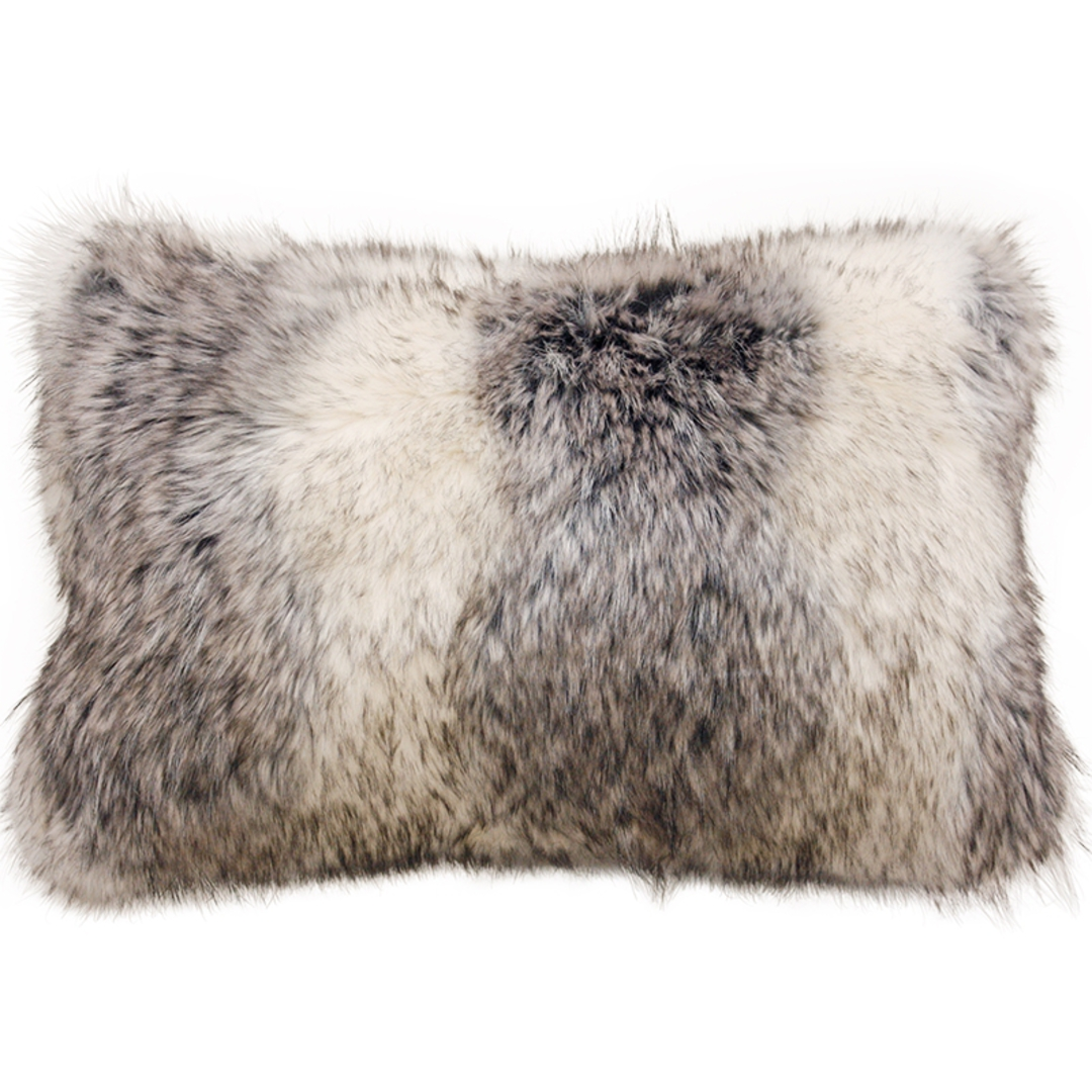 Heirloom Exotic Faux Fur Cushion / Throw - Mountain Wolf image 1