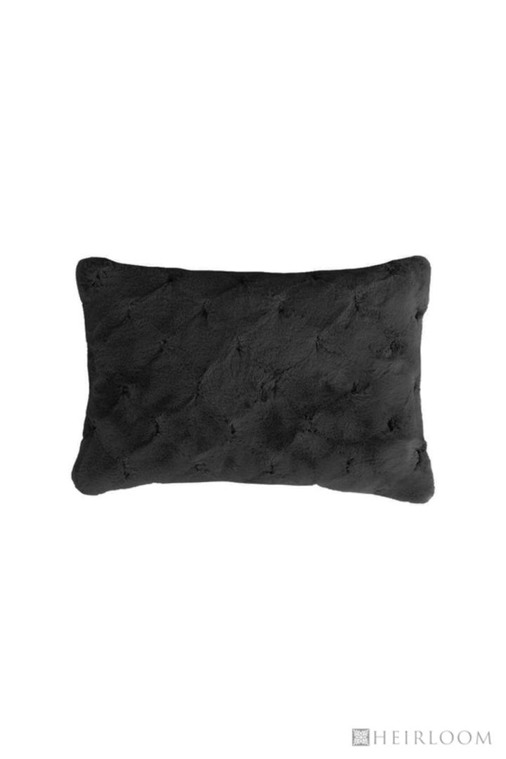 Heirloom Exotic Faux Fur -  Cushion / Throw  -  Valentina - Black image 3
