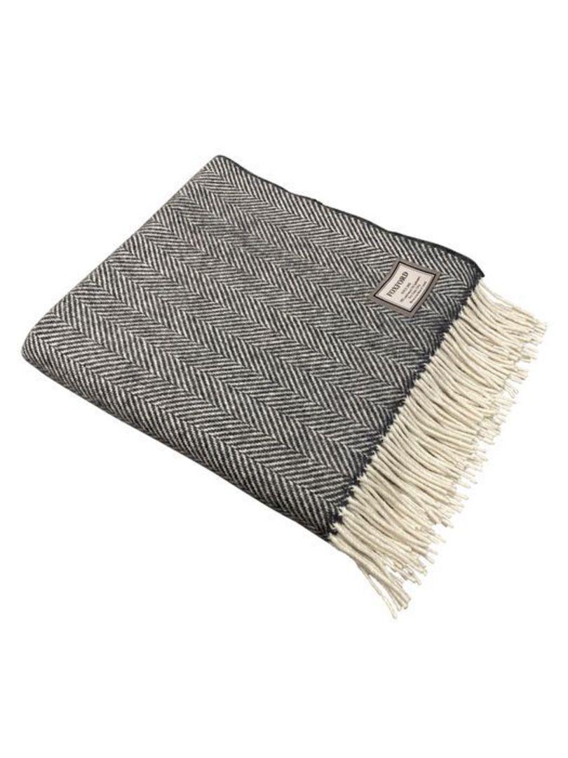 Importico - Foxford Cashmere Herringbone Throw - Oxford/White image 0