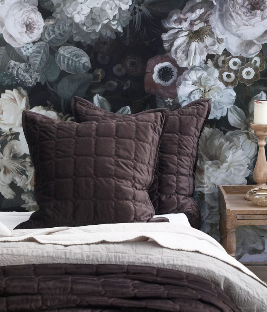 MM Linen - Meeka Coffee Quilted Comforter Set / Eurocase Set image 1