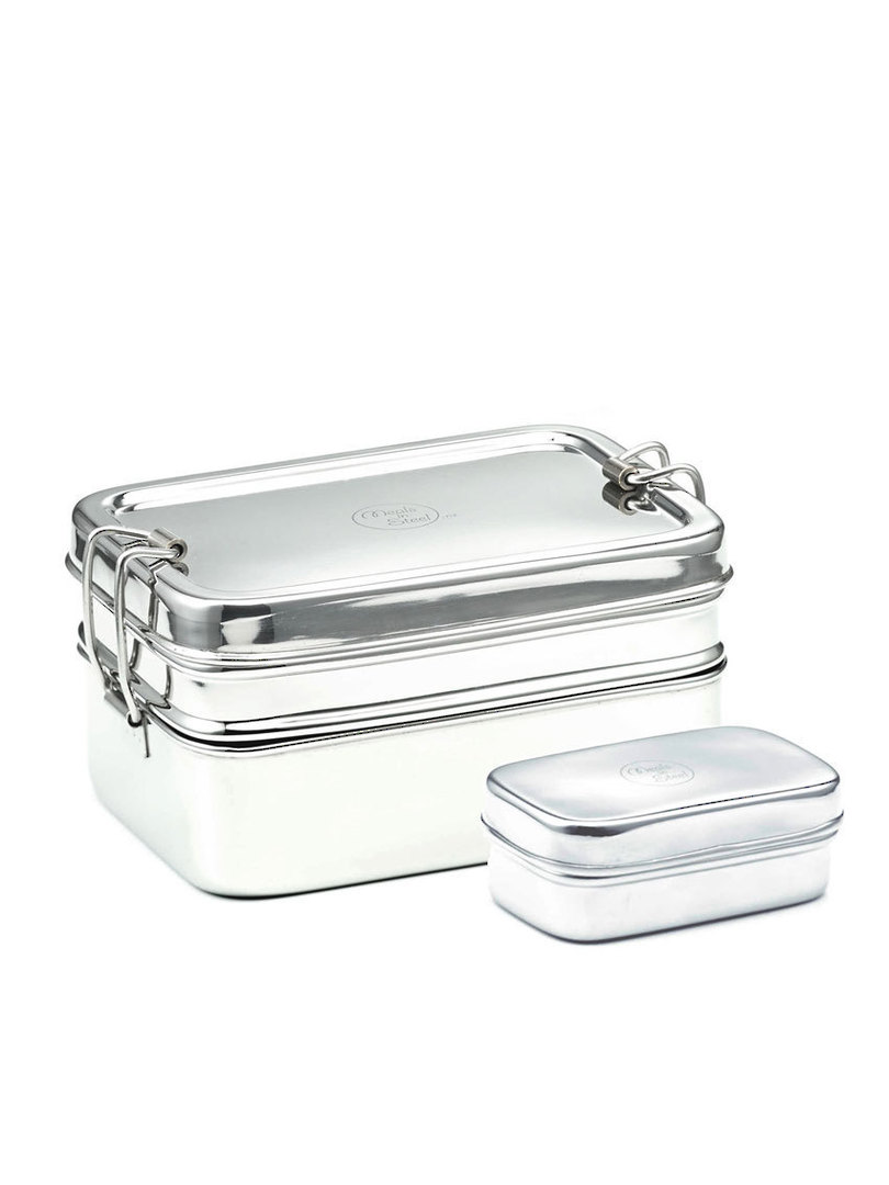 Meals in Steel Twin Layer Rectangular Lunchbox + snack box, large image 0