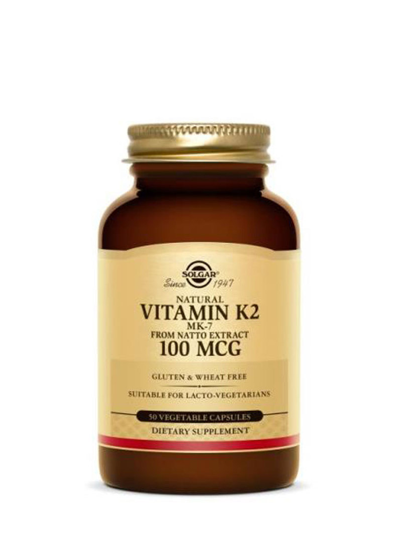Solgar Natural Vitamin K2 (MK-7) 100 mcg 50 Vegetable Capsules image 0