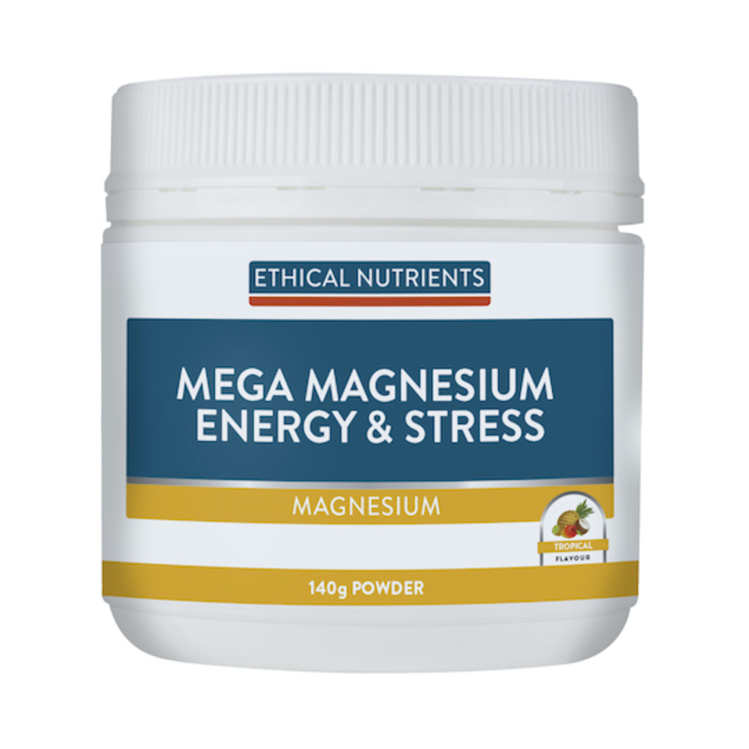 Ethical Nutrients Mega Magnesium Energy and Stress, 140g Powder (Tropical) image 0