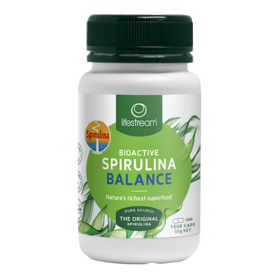 Lifestream Bioactive Spirulina Balance 500 mg, 100 or 500 Capsules image 0