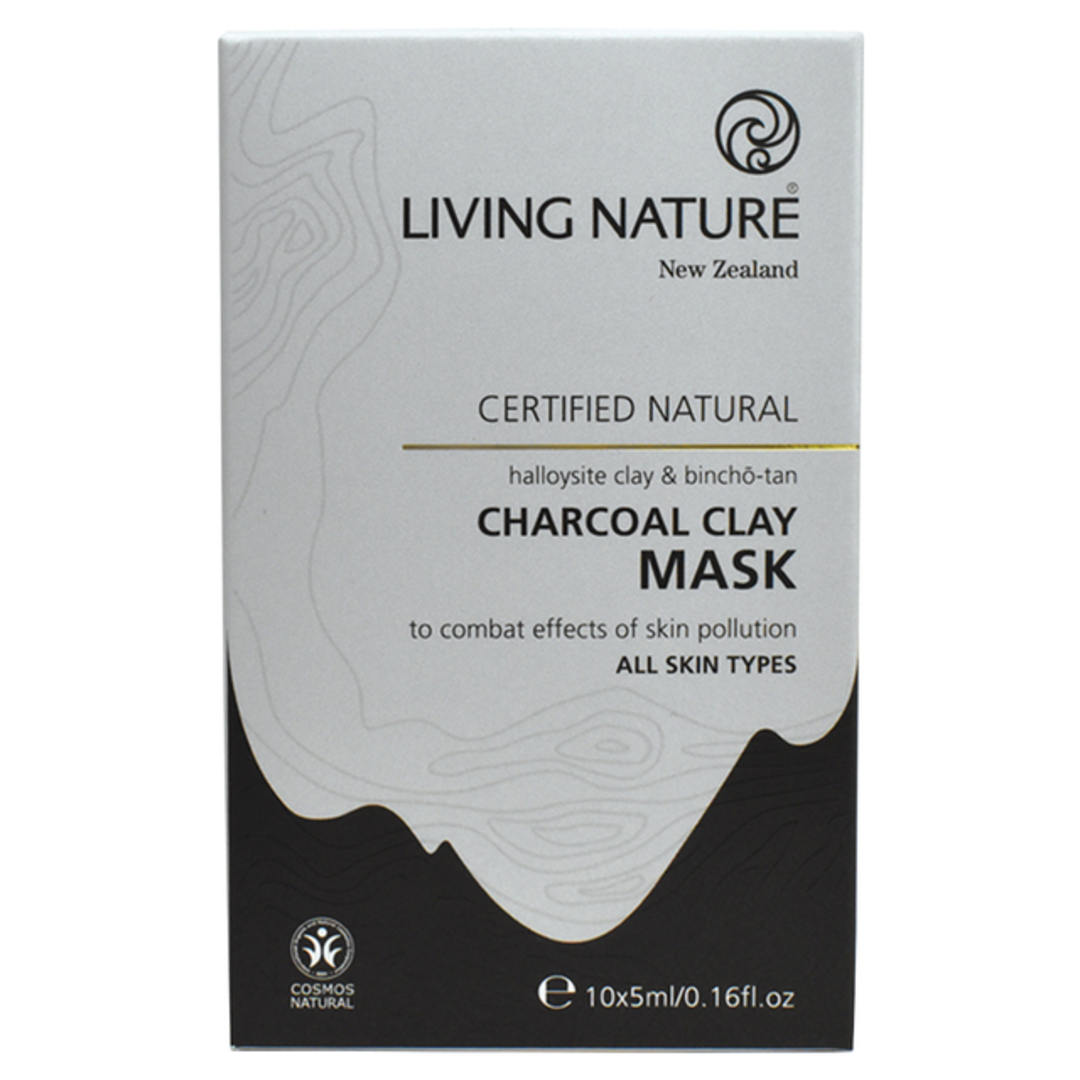 Living Nature Charcoal Clay Mask,10x5ml,Buy one get one FREE image 0