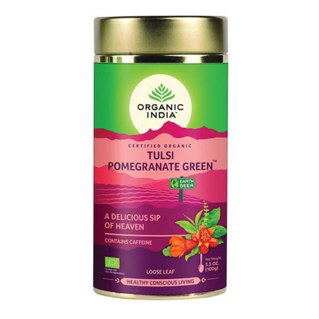 Organic India Tulsi Pomegranate Green, 100g loose leaf tea image 0