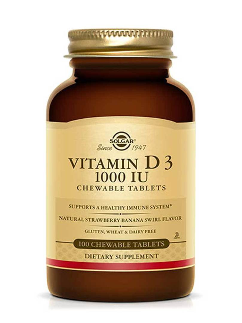 Solgar Vitamin D3 1000 IU, 100 Chewable Tablets image 0