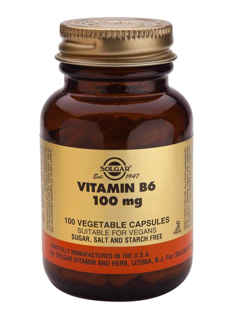 Solgar Vitamin B6 (pyridoxine) 100mg (100 Vegetable Capsules) image 0
