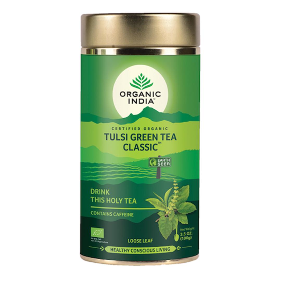Organic India Tulsi Green, 100g loose leaf tea or 1 carton (6 tins) image 0
