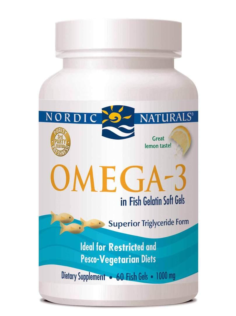 Nordic Naturals Omega-3 in fish gelatin (60 soft gels) image 0