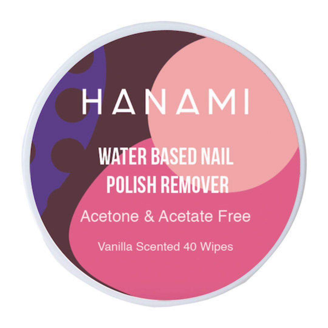 Hanami Water Based Nail Polish Remover Wipes, unscented or vanilla image 0