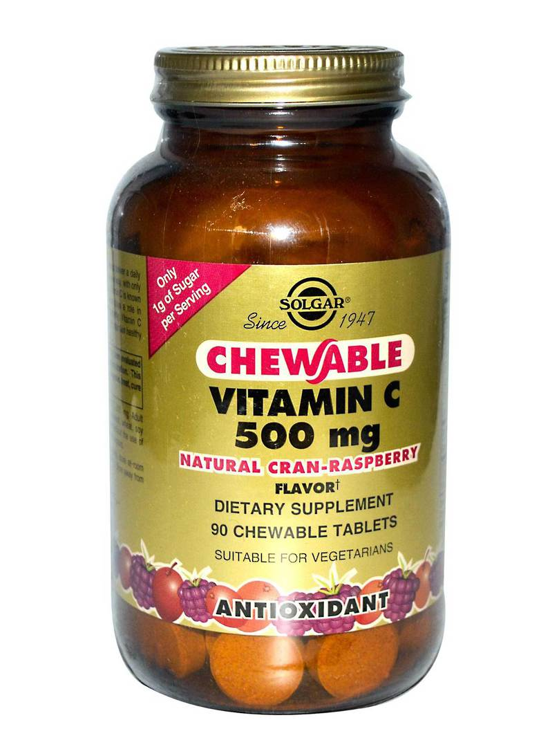 Solgar Chewable Vitamin C 500 mg - Cran Raspberry Flavour, 90 Tablets image 0