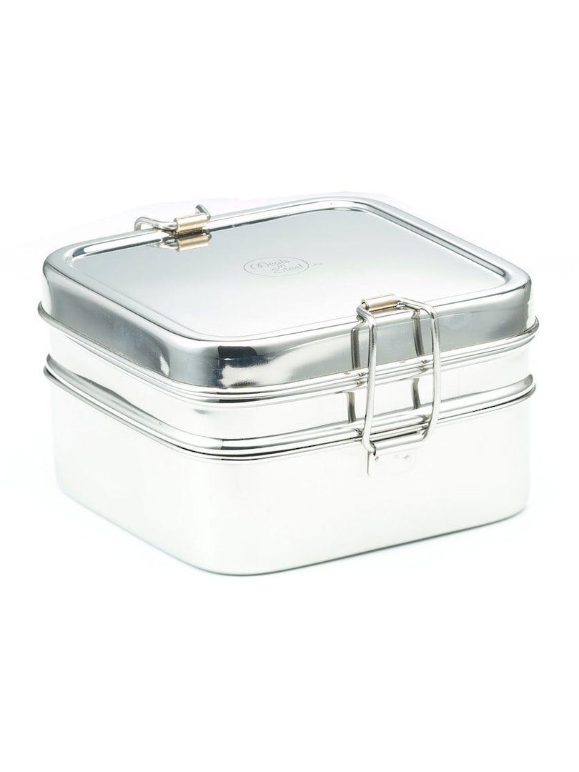 Meals in Steel Twin Layer Square Lunchbox image 0