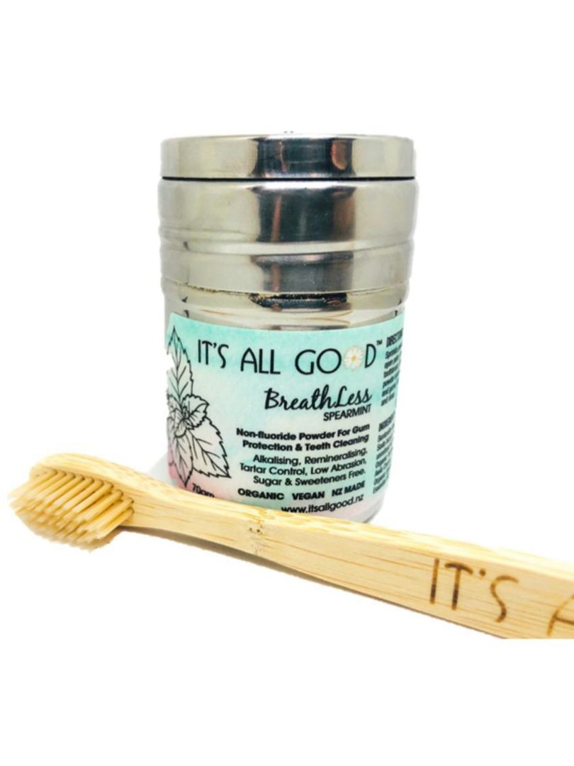 It's All Good, BreathLess Teeth Cleaning Powder + bamboo toothbrush, 70gm image 0