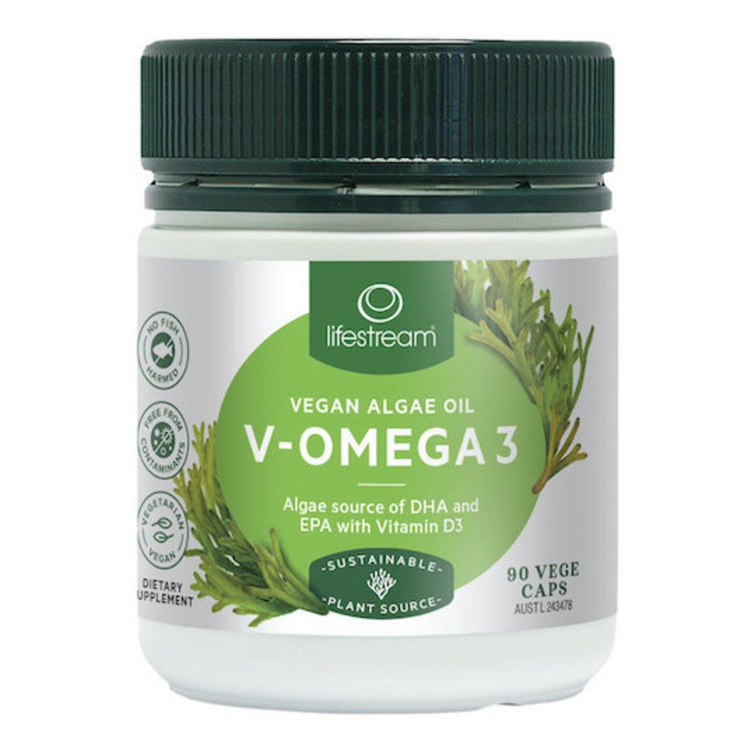 Lifestream V-Omega 3 + Vitamin D (Vegan Algae), 45 or 90 Capsules image 0