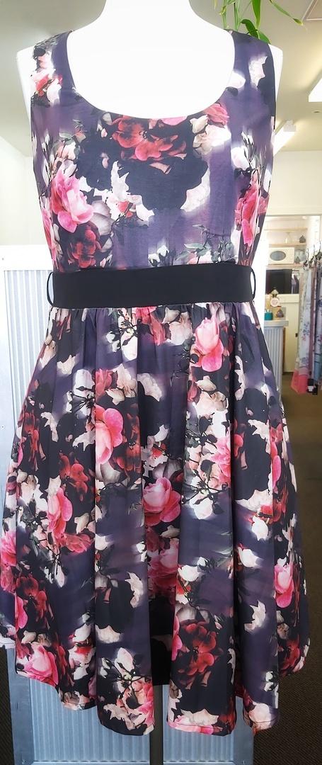 City Chic Rose Print Dress image 0