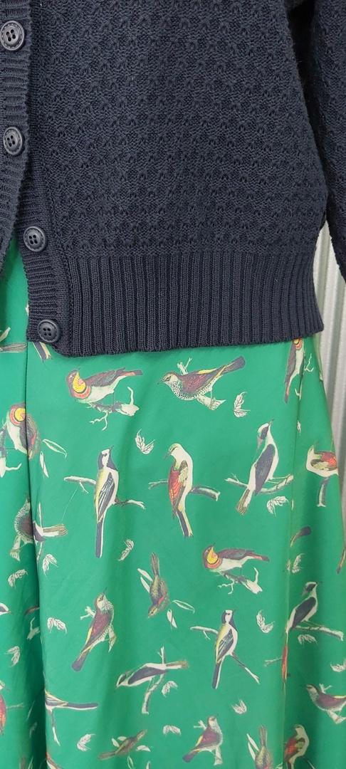 Modcloth Green Print Lined Swing Skirt image 1